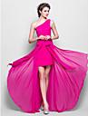 Lanting Bride® Longueur Sol Mousseline de soie Robe de Demoiselle d\'Honneur  Fourreau / Colonne Une Epaule Grande Taille / Petite avec