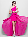 Lanting Bride® Floor-length Chiffon Bridesmaid Dress Sheath / Column One Shoulder Plus Size / Petite with Bow(s)