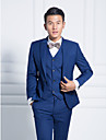 Blue Solid Slim Fit Suit In Polyester Three-Piece