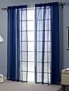 Un Panneau Moderne Solide Bleu Salle de sejour Polyester Sheer Rideaux Shades