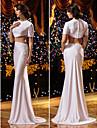 Lanting Bride® Havfrue Petit / Plus Stoerrelser Brudekjole Todelte Svoepeslep Besmykket Strikket med
