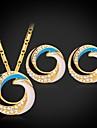 flottants fantaisie pendentif d\'email collier boucles d\'oreilles strass pour les femmes de haute qualite plaque or 18k platine