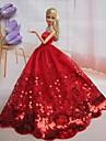 Fest/afton Klänningar För Barbie Doll Röd Klänningar För Flicka doll Toy