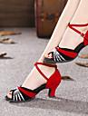 Chaussures de danse (Argent/Or) - Non personnalisable - Talon Large - Suede/Paillette - Danse latine