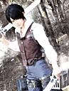 Inspirerad av Attack on Titan Levy Animé Cosplay Kostymer/Dräkter cosplay Suits Lappverk Vit / Brun Lång ärm Väst / Skjorta / Byxor