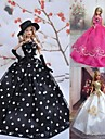 Princesse Robes Pour Poupee Barbie Blanc / Noir / Fuchsia Robes Pour Fille de Doll Toy
