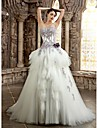 A-line Wedding Dress Wedding Dress in Color Chapel Train Strapless Sweetheart Satin with Appliques Beading Flower