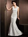 Lanting Bride Trumpet/Mermaid Petite / Plus Sizes Wedding Dress-Sweep/Brush Train V-neck Lace