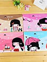 japansk flicka mönster plast a4 fil påsen (1 st slumpmässig färg)