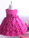 Ball Gown / Princess Knee-length Flower Girl Dress - Satin / Tulle Sleeveless Jewel with