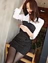 Vestito Da donna Sexy / Da ufficio A strisce Sopra il ginocchio Colletto Nylon / Misto cotone