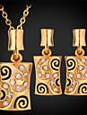 Set bijuterii Cristal Ștras Placat cu platină Placat Auriu 18K de aur Square Shape Auriu Alb Seturi de bijuteriiNuntă Petrecere Zilnic