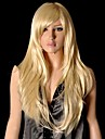 Pretty Light Blonde Long Straight Synthetic Party Wig with Side Bang