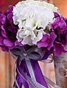 brudbukett bröllop brud hålla blommor, siden colth simulering hortensia, lila och vitt
