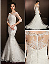 Lanting Bride Trumpet/Mermaid Petite / Plus Sizes Wedding Dress-Court Train Scoop Lace
