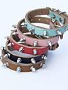 Katter / Hundar Halsband Justerbara/Infällbar / Dubbade / Nit Röd / Svart / Blå / Brun / Rosa Genuint läder