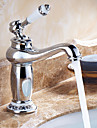 Contemporain Set de centre Valve en ceramique Mitigeur un trou with Chrome Robinet lavabo