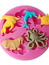 quatre c Couleur des moules de conception animaux moules en silicone de la mer de gateau rose