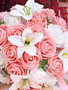 un bouquet de 26 roses pe simulation et blanc fleurs de mariage mariee lys bouquet de mariage Tenir, Rose
