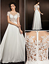 Lanting A-line Wedding Dress - Ivory Floor-length Jewel Lace/Satin Chiffon