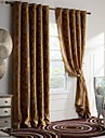 One Panels Gold Vine/Floral  Chenille Blackout Curtain
