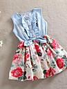 Fata lui Roz Floral Bumbac Vară / Primăvară / Toamnă Roz