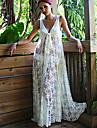 Women\'s Lace White Dress, Sexy/Beach/Maxi Deep V Sleeveless See-through