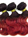3st / lot, väver 100g / st, 8inch brasilianska jungfru hår förkroppsligar vinkar färgar 1b / rött hår