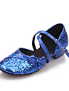 Chaussures de danse(Noir Bleu Rouge Argent Or) -Non Personnalisables-Talon Plat-Similicuir Paillette-Moderne