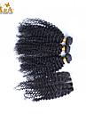 """10 """"-26"""" brasilianska jungfru hår kinky lockigt människohår väft med spets stängning färg naturligt svart baby hår"""