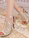 Chaussures Femme - Habille / Soiree & Evenement - Noir / Argent / Or - Talon Aiguille - Talons / Bout Ouvert - Sandales - Similicuir