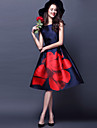 Women\'s Red Flower Vintage Swing Midi Dress