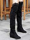 zapatos de las mujeres gamuza cubiertos bajo ascensor talon sobre la rodilla botas con el recorte adorno mas color disponible