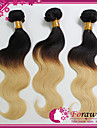 """brasilianska mänskliga hårförlängningar ombre hår 1b / 613 lättaste blond vågigt människohår väva 3st / lot 12 """"-24"""""""