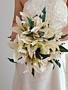 "Wedding Flowers Free-form Lilies Bouquets Wedding Purple / Ivory Satin / Spandex 3.54""(Approx.9cm)"
