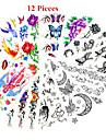 12 PCS - Series animales/Series de fleur/Autres - Multicolore - Motif - 25*11cn - en Papier - Tatouages Autocollants