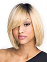 Capless mix-färg (grå&blond) sida bang korta raka syntetiska peruker