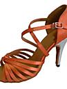 Chaussures de danse(Marron) -Personnalisables-Talon Personnalise-Satin-Latine Salsa Chaussures Standard
