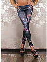 Legging A Motifs Fin Melanges de Coton/Polyester Femme