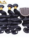 10 \'\' - 30 \'\' indiskt jungfru hår förkroppsligar vinkar obearbetat människohår spetsar stängning med väver indian vågigt hår