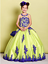 Lanting Bride ® Ball Gown Floor-length Flower Girl Dress - Tulle Sleeveless Jewel with Appliques / Beading