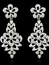 Lady\'s Multi-Stone Zircon Crystal Silver Chandelier Drop Earrings for Wedding Party Jewelry