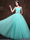 Formal Evening Dress Ball Gown Scoop Floor-length Satin / Tulle / Polyester with Beading / Crystal Detailing / Ruching