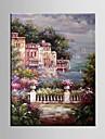 HANDMÅLAD Landskap / Blommig/BotaniskMedelhavet En panel Kanvas Hang målad oljemålning For Hem-dekoration
