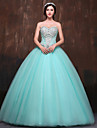 Formal Evening Dress Ball Gown Sweetheart Floor-length Satin / Tulle / Polyester with Beading / Crystal Detailing