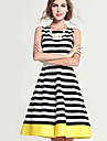 Women\'s Vintage Causal Striped Spliced Stylish Sleeveless Knee-length Dress