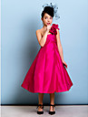 Tea-length Taffeta Junior Bridesmaid Dress - Fuchsia A-line / Princess One Shoulder