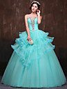 Formal Evening Dress - Petite Ball Gown Strapless Floor-length Satin / Tulle / Polyester