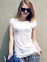 Tee-shirt Aux femmes,Couleur Pleine Decontracte / Quotidien simple Ete ½ Manches Blanc / Noir / Gris Coton Opaque