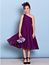 Lanting Bride Tea-length Chiffon Junior Bridesmaid Dress A-line One Shoulder with Side Draping / Criss Cross